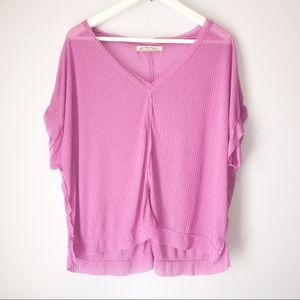 FREE PEOPLE Pink Sheer Short Sleeve Top XS V-Neck